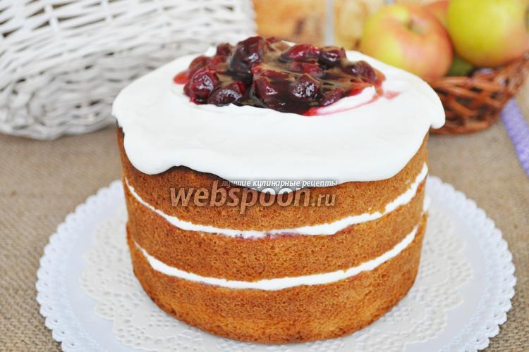Рецепт Голый торт с творожным кремом и пьяной вишней