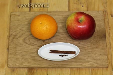 Для приготовления нам понадобятся следующие продукты: яблоко, корица палочками, гвоздика, цедра апельсина, мёд.