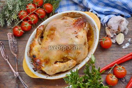 Курица фаршированная грибами и помидорами черри