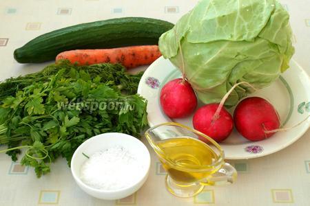 Для приготовления салата возьмём молодую капусту, редис, свежий огурец, морковь, зелёный лук, укроп и петрушку, соль и ароматное подсолнечное масло. Также можно по желанию добавлять в салат перец из мельницы и лимонный сок.