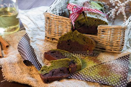 Кекс шоколадный с зеленым чаем матча