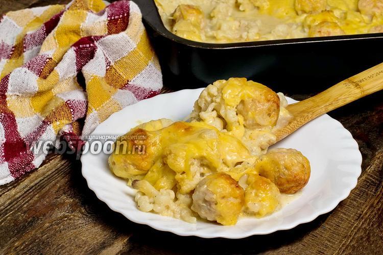 Рецепт Цветная капуста, запечённая с фрикадельками в соусе
