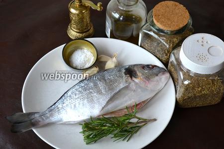Ингредиенты для приготовления рыбы: дорада, оливковое масло и сливочное масло, чеснок, свежий розмарин, соль и перец по вкусу, смесь «испанские травы» (паприка, розовый перец, сушёный лук, розмарин, сушёный чеснок, тимьян, чёрный перец, сушёная зелень петрушки).