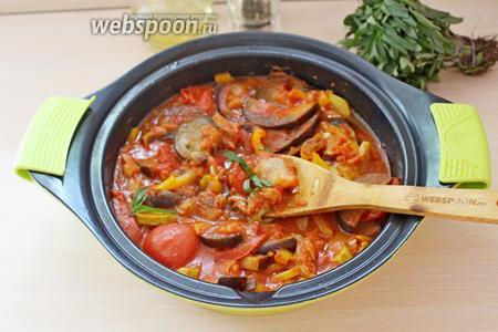 В готовую рыбу с овощами добавить чабрец и подавать. Приятного аппетита!