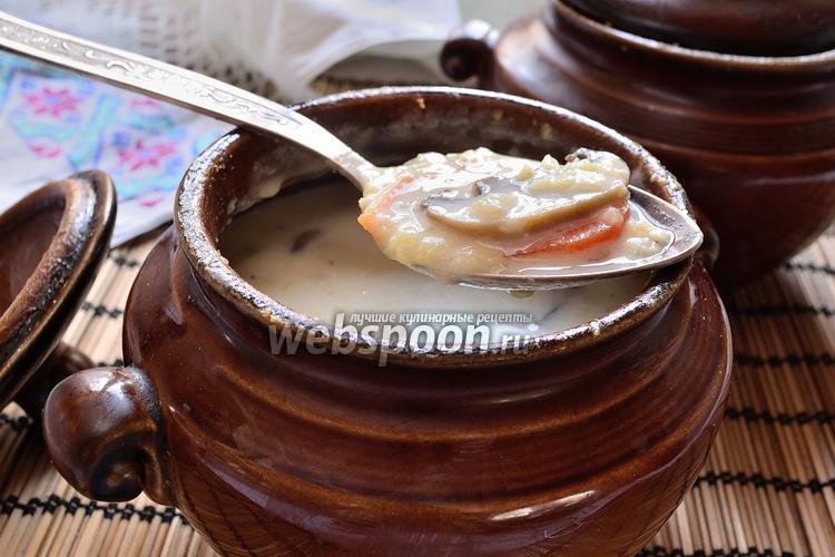 Рецепт Сливочный пшенный суп с грибами