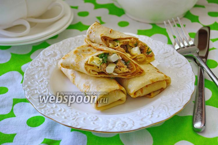 Рецепт Блины с начинкой из печени трески и сыра