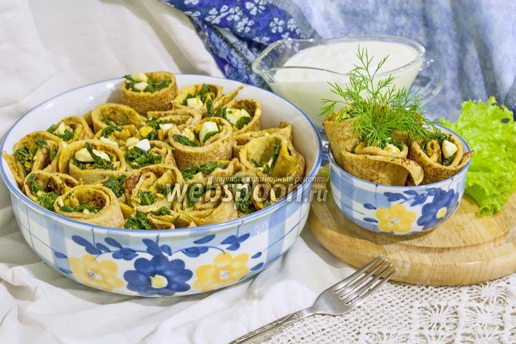 Рецепт Блины с зеленым луком и яйцом