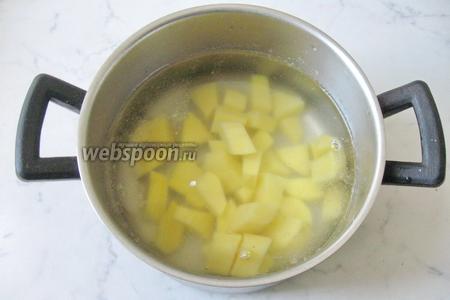 В кастрюлю наливаем мясной бульон. У меня куриный. Картофель чистим, моем и нарезаем кубиками, но не очень мелко. Кладём в кастрюлю и ставим на огонь.