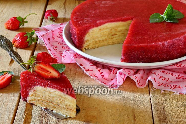 Рецепт Блинный торт с клубничным желе