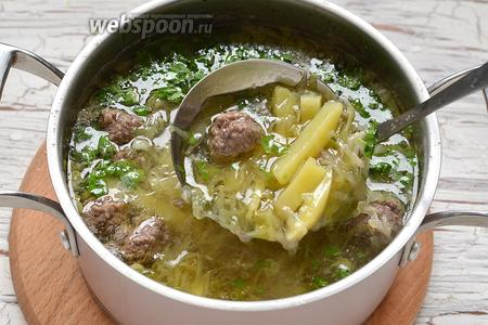 Суп готов. Подавайте суп горячим.