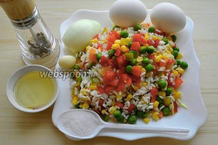 Приготовим нужные нам продукты: воду, лук, масло, гавайскую смесь, перец, соль, чеснок, яйца, сметану, лимон.