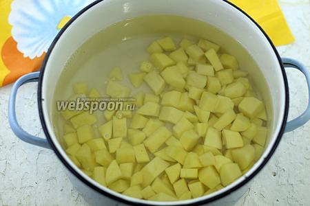 Картофель нарежьте небольшими кусочками, уложите в подходящую кастрюлю. Налейте воду. Поставьте на огонь. Доведите до кипения. Варите на небольшом огне до полуготовности.