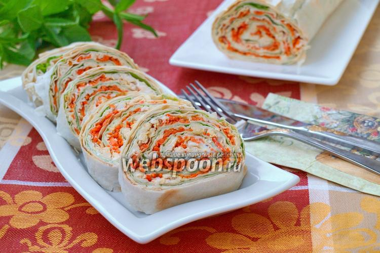Рецепт Рулет из лаваша с курицей и корейской морковью