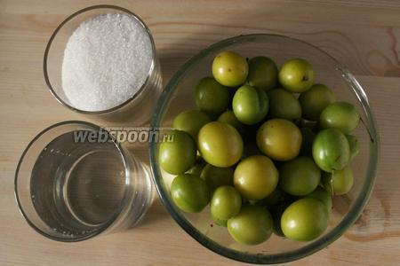 Для приготовления потребуется алыча, сахар, вода.