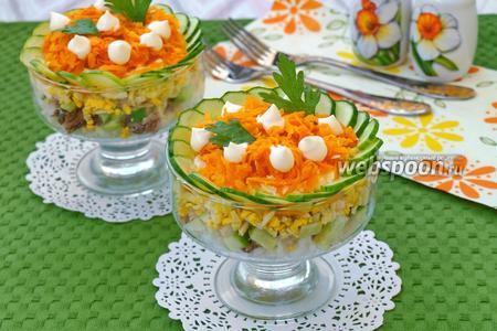 Салат с сайрой, рисом и морковью