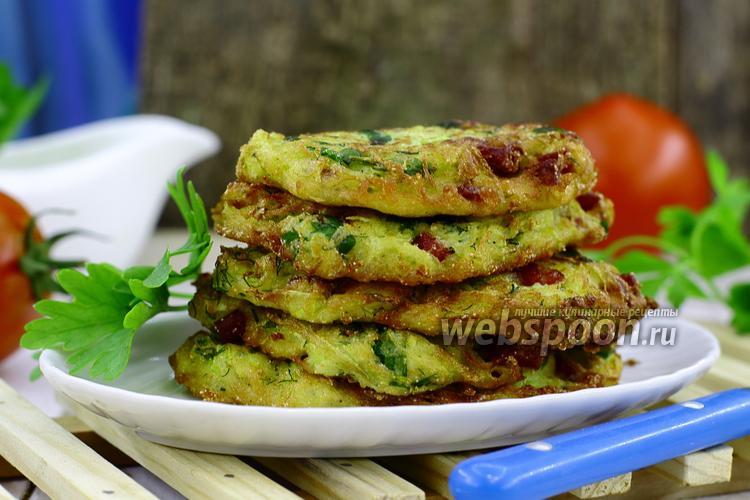 Рецепт Оладьи из кабачков с колбасой