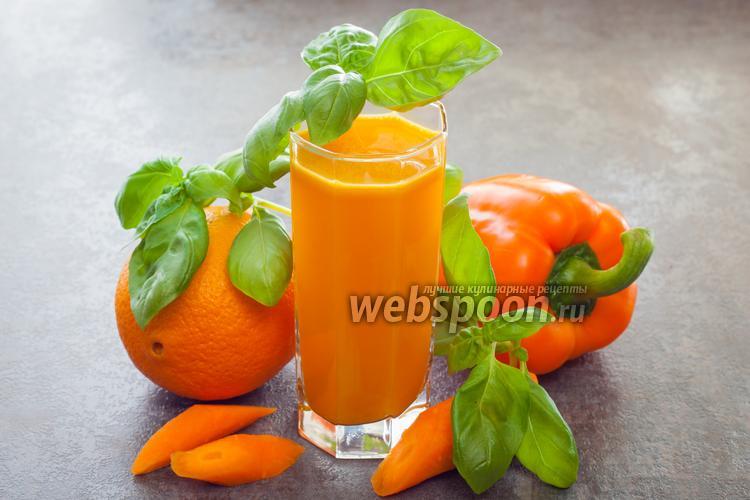 Фото Морковно-апельсиновый сок с паприкой и базиликом