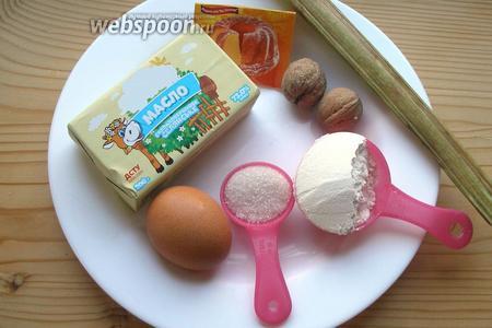 Ингредиенты: мука, разрыхлитель, масло, яйца, сметана, сахар, ревень, орехи.