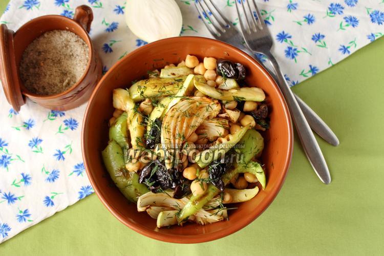 Фото Салат из нута с печёными овощами