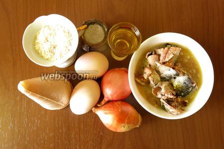 Ингредиенты: консервы, рис, яйца, соль, лук и масло для обжарки.