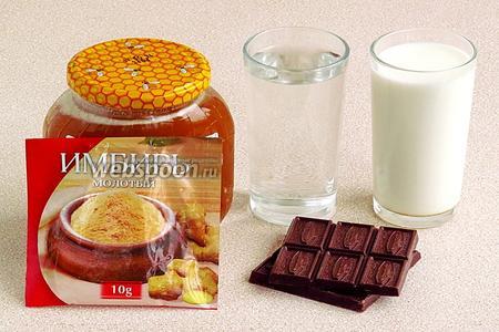 Для приготовления напитка нужно взять чёрный горький шоколад, молоко, воду, молотый имбирь, натуральный мёд и соль.