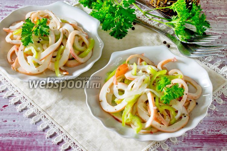 Рецепт Закуска из кальмаров с луком и сладким перцем