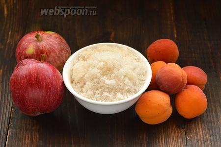 Для работы нам понадобится сахар, яблоки, абрикосы.