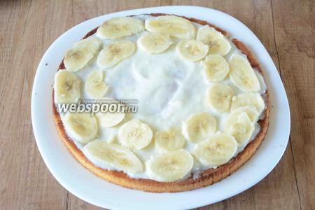 Бананы порезать тонкими ломтиками, выложить по краям и ближе к середине бисквита, как на фото.