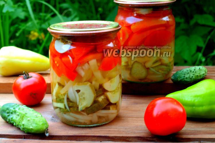 Рецепт Салат из огурцов, помидоров и перца на зиму