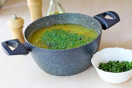Снять с плиты и добавить нарезанную зелень. Приятного аппетита!!!