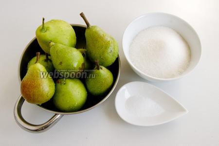 Подготовьте спелые груши, сахар, лимонную кислоту.