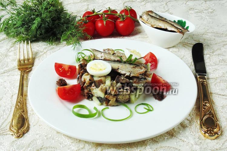 Рецепт Салат со шпротами, сухариками и баклажанами