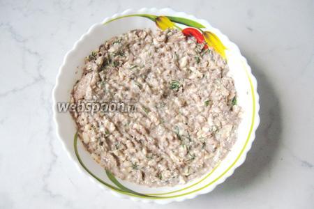 Перемешиваем сайру, плавленый сыр, майонез и укроп. Начинка готова.