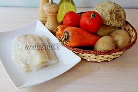 Приготовим все ингредиенты: рыбу, овощи, масло оливковое, специи.