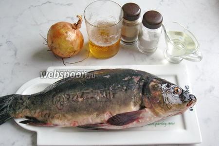 Для приготовления карпа в пиве потребуются такие продукты: карп свежий, пиво светлое, лук репчатый, подсолнечное рафинированное масло, соль и перец чёрный молотый.