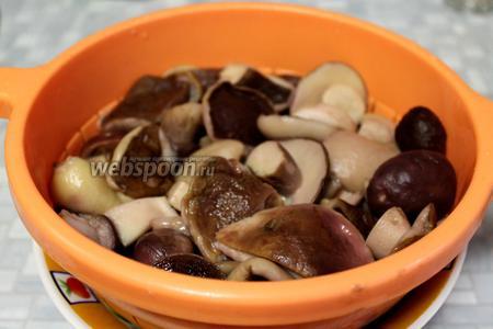 Сварившиеся грибы откинуть на дуршлаг, промыть и охладить под струёй холодной воды.