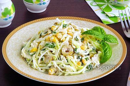 Салат из капусты, адыгейского сыра и кукурузы