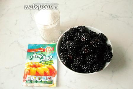 Для приготовления конфитюра из ежевики потребуются ягоды ежевики, сахар, агар-агар и вода.