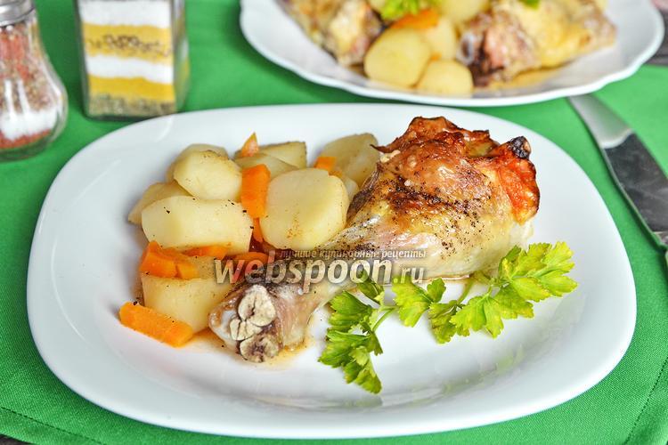 Рецепт Куриная голень, запечённая с кунжутом, сыром и грейпфрутом