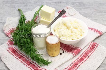 Выбираем сметану от 20% жирности, свежий творог, молодой укроп и желательно — с грядки, сливочное масло, соль и перец.