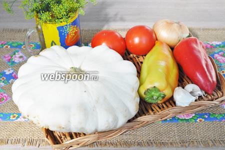 Нам потребуются патиссоны, перец сладкий и чёрный молотый, помидоры, лук, зелень, чеснок, масло растительное, соль и сахар.