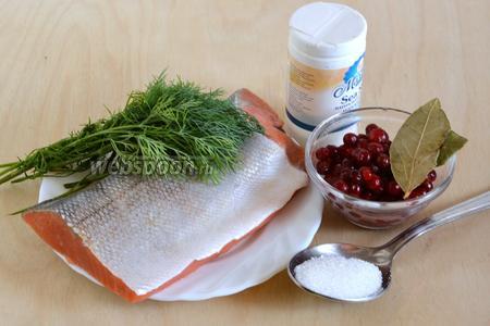 Подготовьте необходимые ингредиенты: филе кижуча на коже, морскую соль, сахар, укроп, лавровый лист и бруснику. Ягоды можно использовать как свежие, так и замороженные.