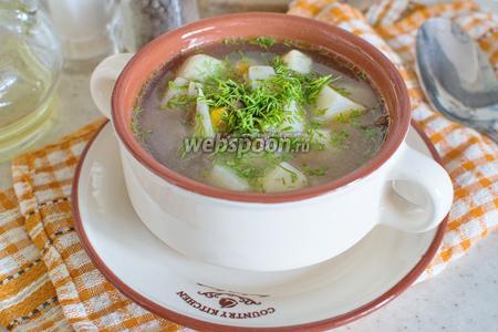 Суп с сушёными лисичками в мультиварке