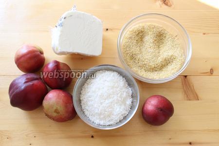 Для приготовления потребуется булгур, нектарин, кокосовая стружка, корица молотая (по желанию), мороженое.