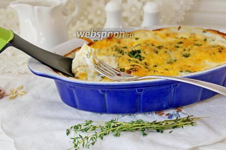 Рыба с картофелем запечённая под соусом «Бешамель»