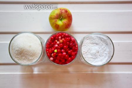 Ингредиенты: яблоко (3 маленьких или 1 большое), брусника, крахмал картофельный, сахар, вода.