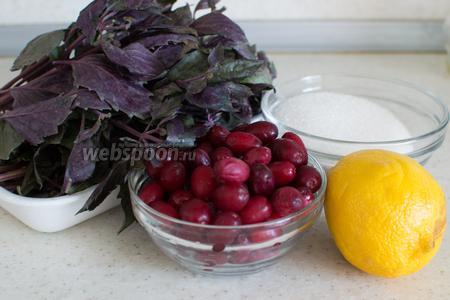 Для приготовления потребуется кизил, лимон, базилик, сахар, вода.