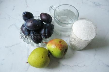 Для приготовления такого варенья потребуются сливы, груши, сахар и вода.