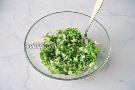 Салат заправить любым растительным маслом и посолить по вкусу.