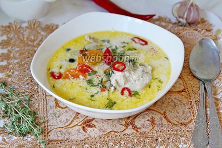 Сливочный суп с курицей и овощами